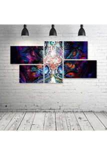 Quadro Decorativo - Psychedelic-Digital-Art - Composto De 5 Quadros