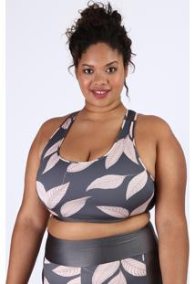 Top Feminino Plus Size Esportivo Ace Com Folhagem Decote Nadador Sem Bojo Chumbo