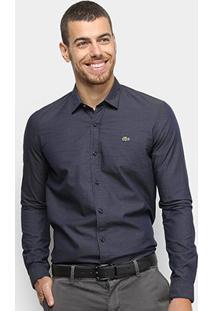 Camisa Lacoste Manga Longa Slim Masculina - Masculino-Marinho
