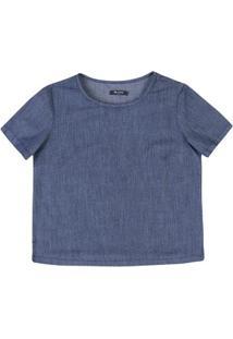 Blusa Jeans Feminina Estampada Com Recorte Nas Barras