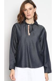 Blusa Jeans Com Tira & Recortes- Azul Escuroenna