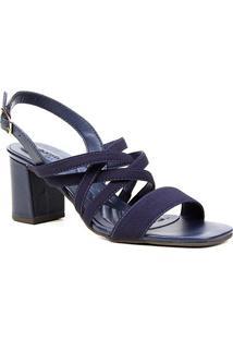 Sandália Couro Shoestock Elástico For You Salto Bloco Médio Feminina - Feminino-Marinho