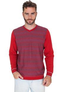 Suéter G'Dom Vermelho Frente Listrado Color