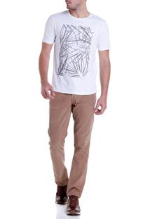 Camiseta Dudalina Careca Folhagem Masculina (Branco, M)