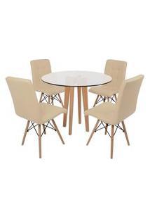 Conjunto Mesa De Jantar Em Vidro 90Cm Com Base Vértice + 4 Cadeiras Gomos - Nude