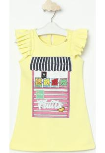 Vestido Tenda- Amarelo Claro & Rosa- Luluzinhaluluzinha