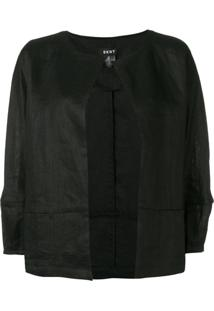 Dkny Open Cropped Sleeve Jacket - Preto