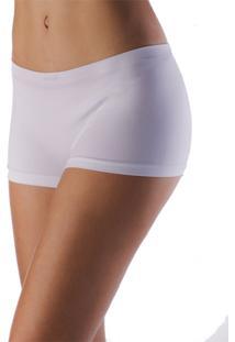 Calcinha Boxer Sem Costura, Em Poliamida Com Elastano Branca.