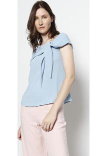 Blusa Ciganinha Com Amarraã§Ã£O - Azul Claromoisele