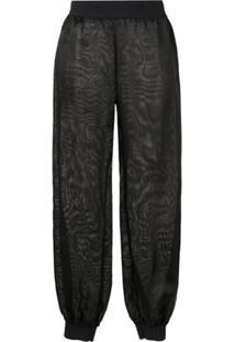Moschino Sheer Tapered Trousers - Preto