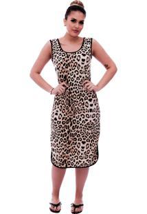 Camisola Ficalinda Longuete De Alça Com Viés Preto Em Estampa Animal Print De Onça