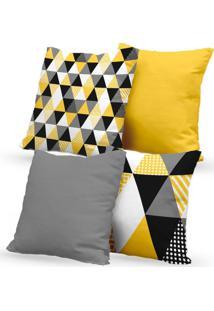 Kit 4 Capas De Almofadas Decorativas Own Triângulos Amarelo E Cinza 45X45 - Somente Capa