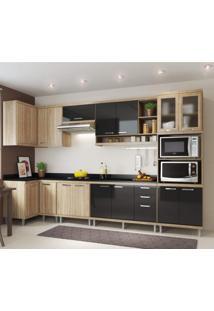 Cozinha Completa Com Tampo 15 Portas 8 Peças Sicília Multimóveis Argila/Preto