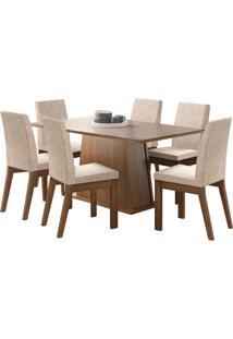 Sala De Jantar Madesa Milena Mesa Tampo De Vidro Com 6 Cadeiras