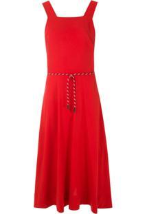 Osklen Vestido Midi Liso - Vermelho