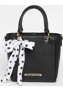 Bolsa Transversal Com Bag Charm & Tag- Preta- 20X19Xloucos E Santos
