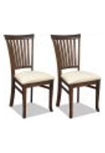 Kit 02 Cadeiras Para Sala De Jantar Cozinha Vitte Canela Linho Rústico Bege - Gran Belo