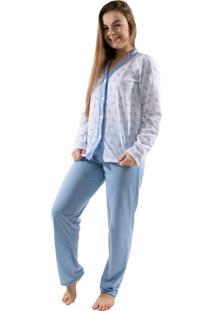 Pijama 4 Estações Com Botão Amamentação Manga Longa Feminino Azul