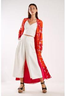 Kimono Est Lily Red Sacada Feminina - Feminino-Pink+Laranja