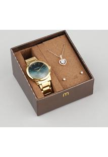 Kit De Relógio Analógico Mondaine Feminino + Brinco + Colar - 53606Lpmvde1Kz Dourado - Único