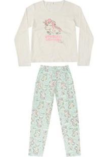 Pijama Blusa E Calça Meia Malha Mãe E Filha Quimby Feminino - Feminino-Branco