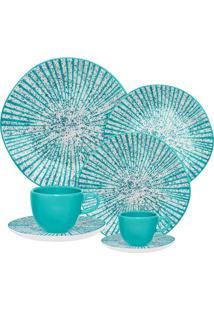 Aparelho De Jantar Oxford Ryo Time 42 Peças Porcelana Azul