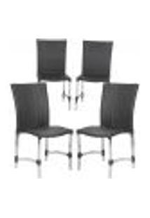 Cadeiras 4Un Para Area Varanda Fibra Sintetica Sala Cozinha Jardim Sacada Florida - Preto