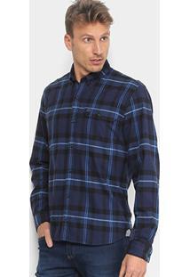 Camisa Xadrez Lacoste Manga Longa Masculina - Masculino-Marinho