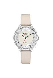 Relógio Curren Analógico C9035L Prata E Bege