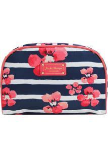 Nécessaire Retangular Com Estampa Floral- Azul Marinho &Jacki Design