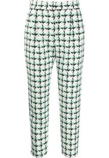 Msgm Calça Cropped De Tweed Xadrez - Branco