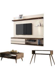 Painel Tv Épic Com Mesa De Centro Lucy E Aparador Quad Deck/Off White Hb Móveis