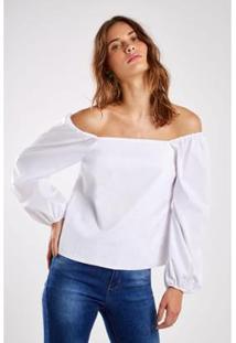 Blusa Dec Quadrado Sacada - Feminino-Branco