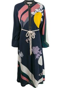 Tory Burch Embroidered Kimono Dress - Azul