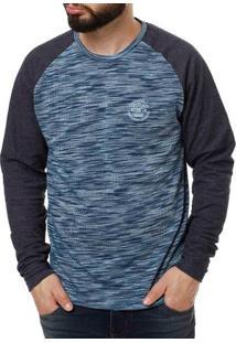 Camiseta Manga Longa Masculina Azul