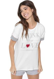 Short-Doll Cor Com Amor Love More Off-White/Cinza
