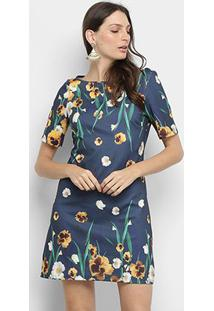 Vestido Lança Perfume Básico Floral - Feminino-Marinho