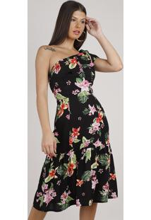 Vestido Feminino Midi Um Ombro Só Estampado Floral Com Babado Preto