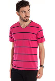 Camiseta Konciny Decote V Manga Curta Pink