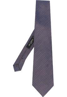 Etro Gravata Em Ponto De Cruz - Azul