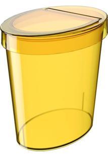 Lixeira Oval Glass 5 Litros Amarelo Coza