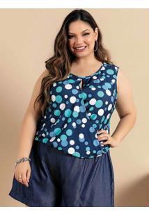 Blusa Plus Size Poá Azul Transpassada