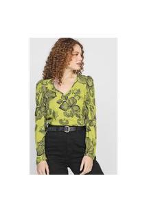 Blusa Colcci Rostos Verde