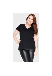 Camiseta Decote V Evasê Plus Size Preto