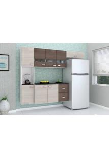 Cozinha Compacta Julia Composta Por 4 Peças Com 2 Gavetas 8 Portas Em Mdp Amendoa/Capuccino Poquema