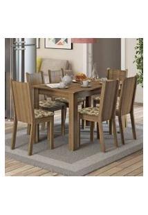 Conjunto Sala De Jantar Madesa Maris Mesa Tampo De Madeira Com 6 Cadeiras Rustic/Bege Marrom