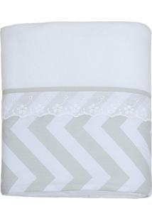 Cobertor Brooklyn Chevron- Branco & Cinza- 75X100Cm