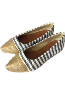 Sapatilha Likka Calçados Bico Fino Listrada E Dourado