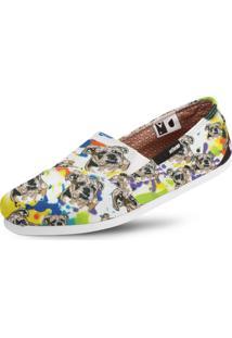 Alpargata Usthemp Slim Vegano Casual Art Bulldog Colors Branco