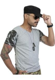 Camiseta Gola V Mescla Com Mangas Camufladas - Masculino